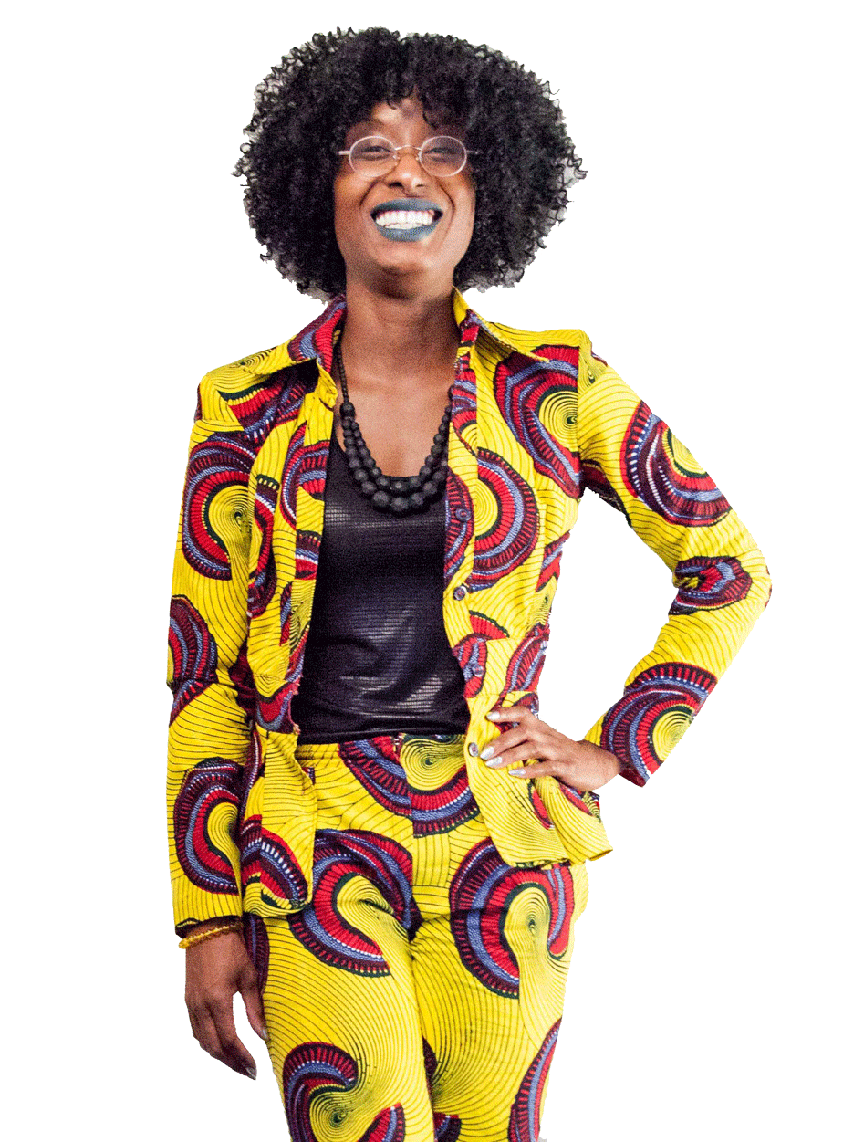 Photo of Yaa in yellow African print suit smiling